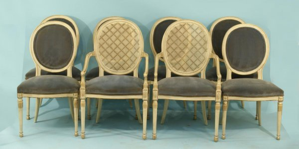 174: LOUIS XVI STYLE PAINT & GILT STYLE DINING CHAIRS