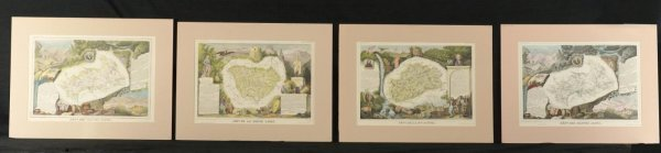 200: FOUR ILLUSTRATED MAPS OF REGIONS OF FRANCE