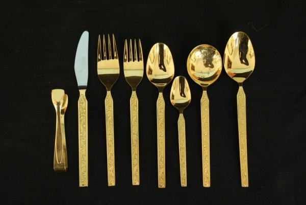 258: SET OF GOLD PLATED FLATWARE BY WEBBER & HILL - 5