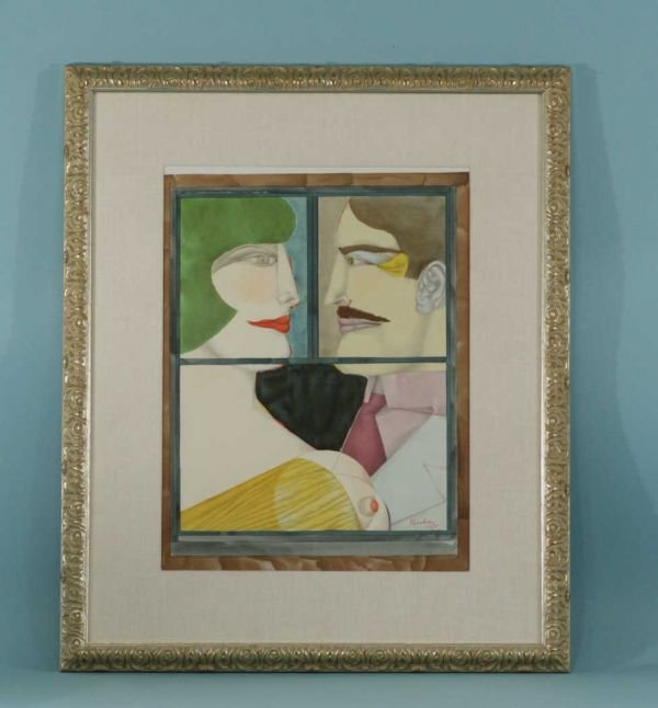 191B: FRAMED AND MATTED PRINT OF HEADS OF WOMAN AND MAN