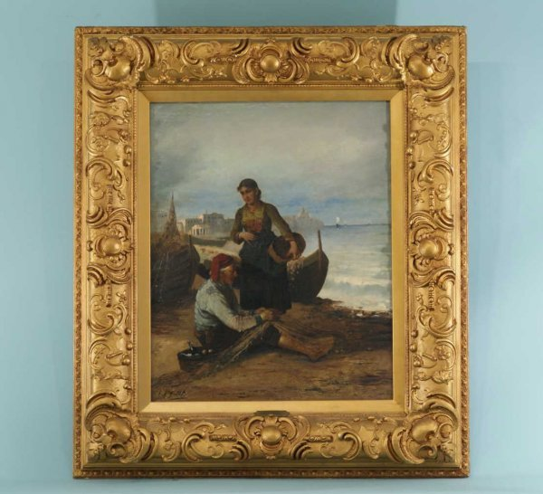 172A: FRENCH 19th CENTURY OIL ON CANVAS OF COASTAL SCEN