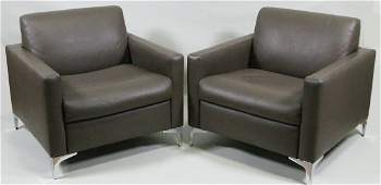 PAIR OF CONTEMPORARY TAUPE LEATHER CLUB CHAIRS