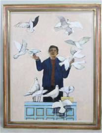 """HERB MEARS """"BOY WITH BIRDS"""" OIL ON CANVAS PAINTING"""