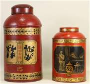 LOT OF TWO CHINESE PAINTED TIN TEA CONTAINERS