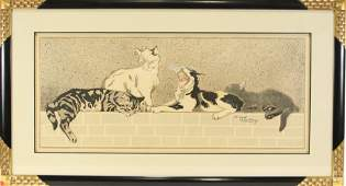 JACQUES LEHMANN CHATS SUR UN MURET CAT POSTER