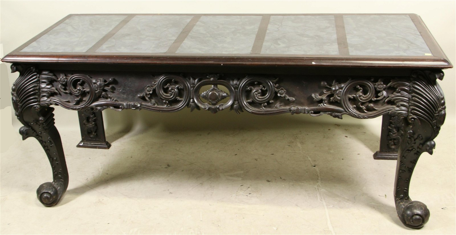 19th CENTURY CHINESE MARBLE TOP CONSOLE TABLE