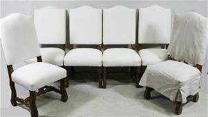 LOT OF SIX FRENCH STYLE SLIPCOVERED DINING CHAIRS