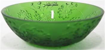 GREEN LALIQUE CRYSTAL BOWL