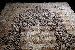 LARGE INDO TABRIZ PERSIAN SILK AREA RUG