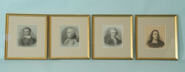 1012: FOUR 18TH & 19TH C. GERMAN CHARCOAL DRAWINGS