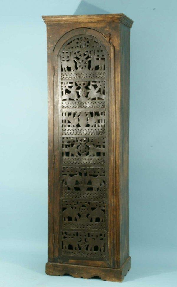 1017: METAL PIERCED SINGLE DOOR LIGHTED CABINET