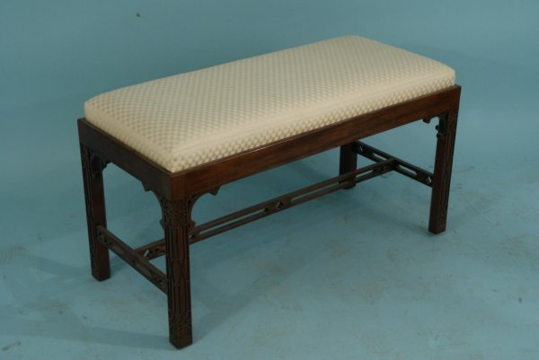 1018: SLIPPER CHAIR AND CHINESE CHIPPENDALE STYLE BENCH