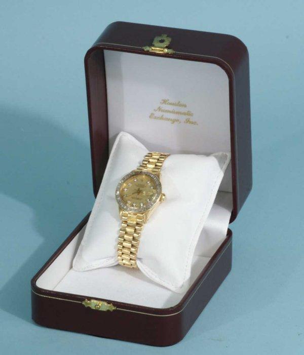 1060B: ROLEX LADY'S PRESIDENT 18K GOLD CHRONOMETER