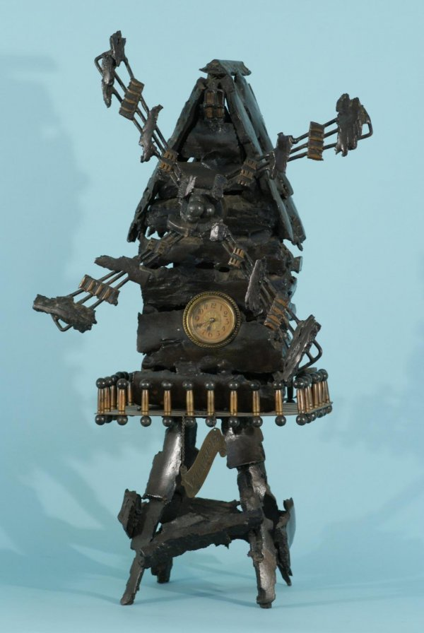 11: A UNIQUE BELGIAN BRONZE WINDMILL CLOCK