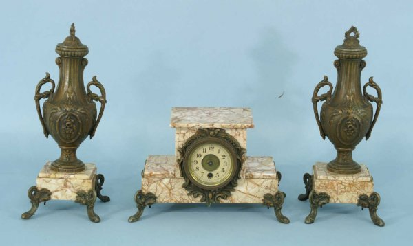 15: A MARBLE CLOCK WITH TWO BRONZE MOUNT URNS