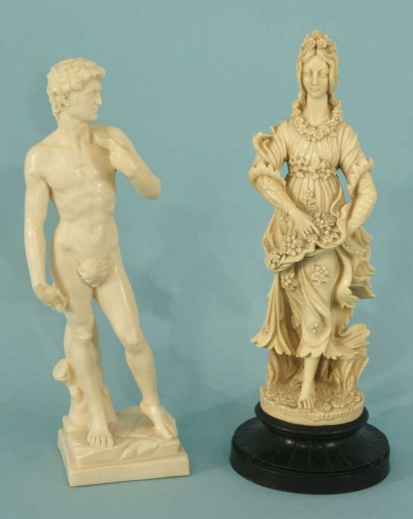 16: PAIR OF STATUETTES OF DAVID AND A FRENCH FEMALE