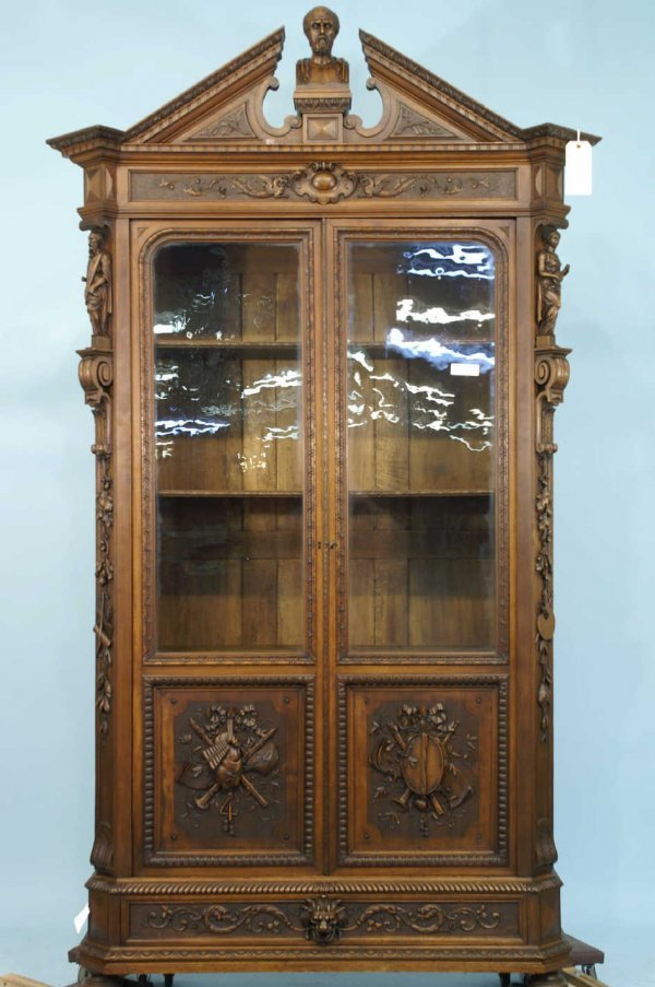 19: ANTIQUE 19th CENTURY CARVED MAHOGANY BOOKCASE