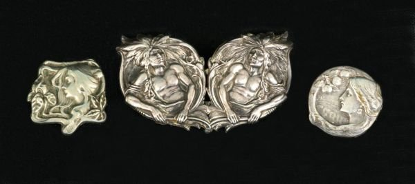 21: STERLING SILVER  BELT BUCKLE AND TWO PINS