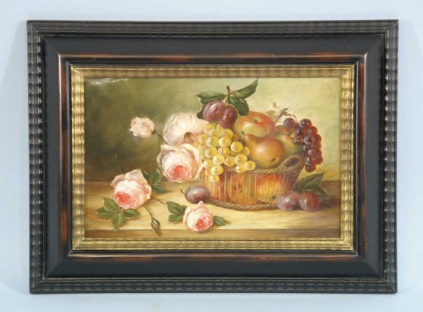 8: STILL LIFE WITH PINK ROSES AND FRUIT BOWL