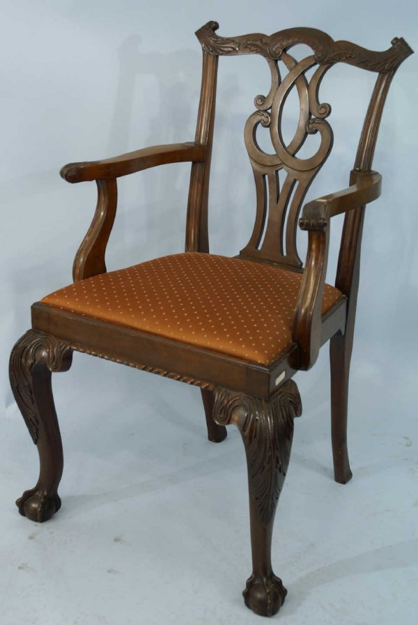11: 19th CENTURY CHIPPENDALE STYLE ARMCHAIR