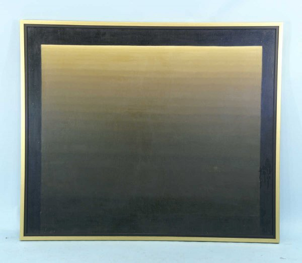 15: ABSTRACT OIL ON CANVAS IN BLACK AND TAN COLORS