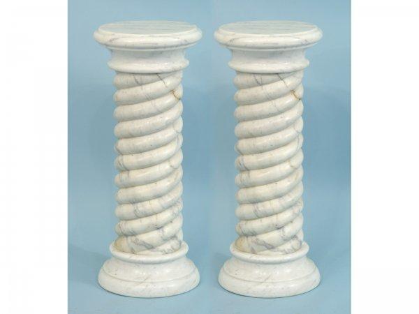 23: PAIR OF WHITE MARBLE PEDESTALS