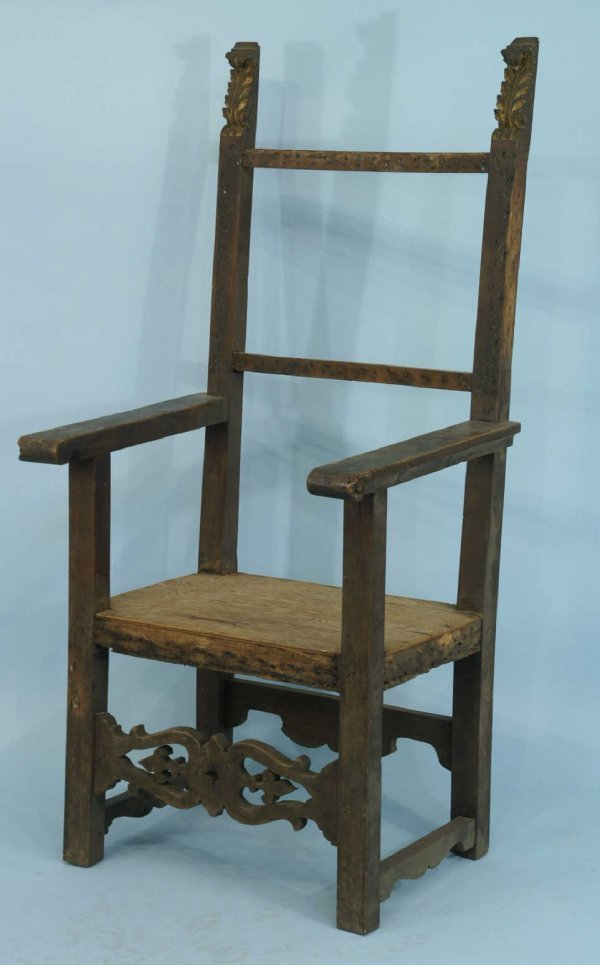 24: ANTIQUE CARVED WOOD ARMCHAIR FRAME