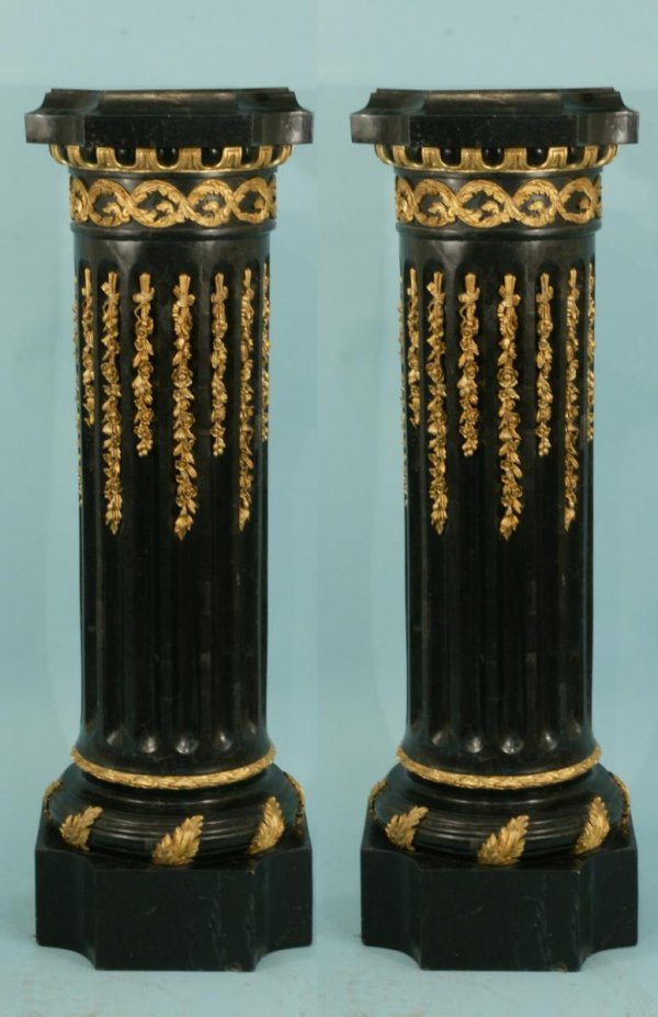 26: PAIR BLACK TILED MARBLE PEDESTALS WITH  GILT TRIM