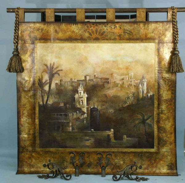 39: OIL ON CANVAS LANDSCAPE TAPESTRY