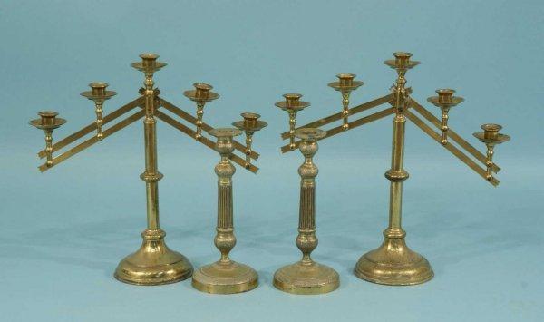 4: PAIR OF BRASS  CANDELABRA & PAIR OF CANDLESTICKS