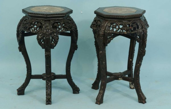 9: ANTIQUE CARVED ROSEWOOD STANDS WITH MARBLE INSETS
