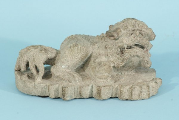11: ANTIQUE STONE CARVED MING DYNASTY FOO DOG