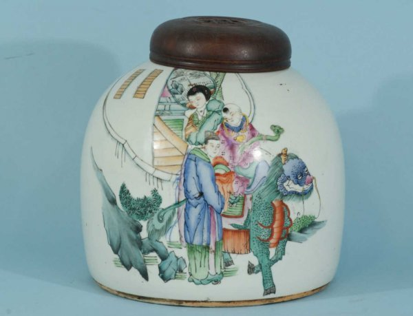 13: ANTIQUE CHINESE JAR WITH LID