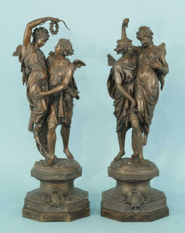 18: A PAIR OF BRONZE STATUES
