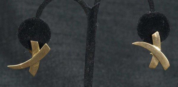 153A: TIFFANY STYLE X PATTERN CLIP EARRINGS IN 14KT GOL