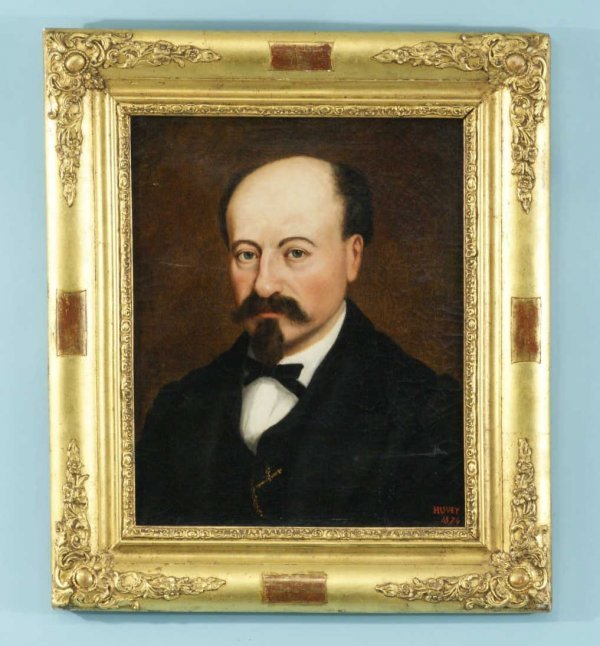 158: PAINTING PORTRAIT, SIGNED JOSEPH HUVEY, ca. 19th