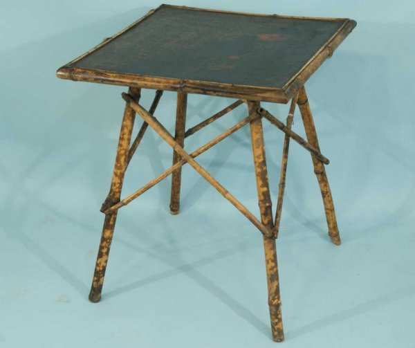 161: ANTIQUE BAMBOO TABLE WITH FLORAL BLACK LACQUER TOP
