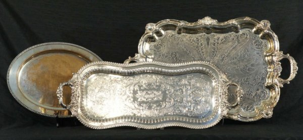 164: LOT OF THREE SILVERPLATE SERVING TRAYS