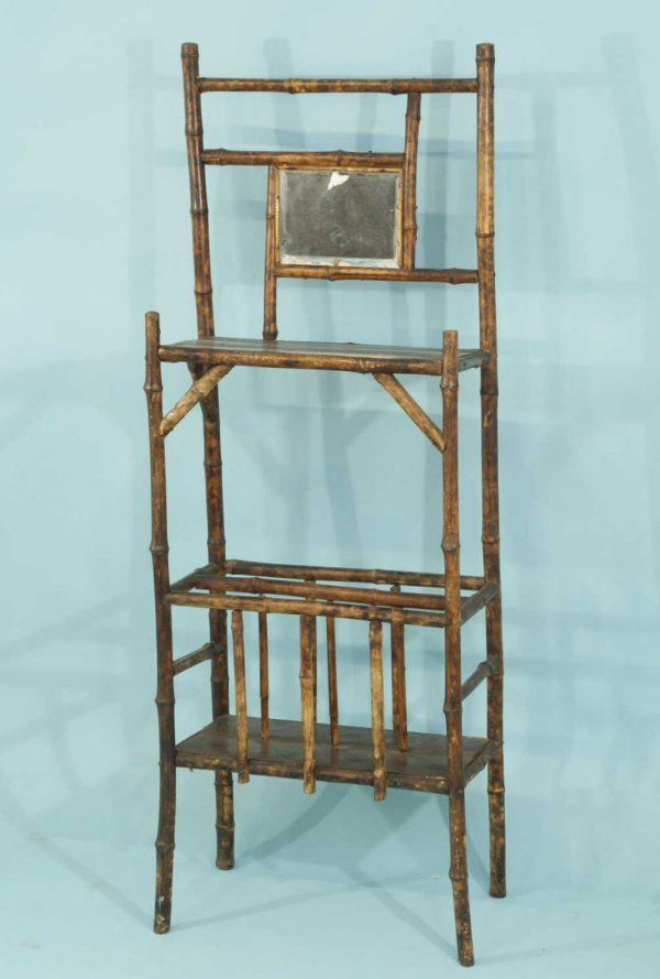 165: ANTIQUE BAMBOO HALL SHELVES