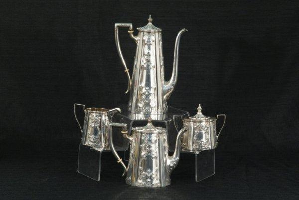 225: STERLING SILVER COFFEE & TEA SERVICE BY MERIDEN
