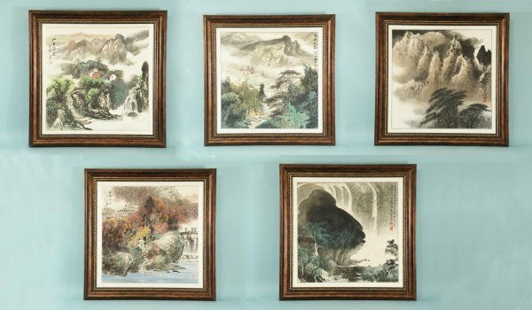 17: FRAMED & MATTED CHINESE WATERCOLOR LANDSCAPES