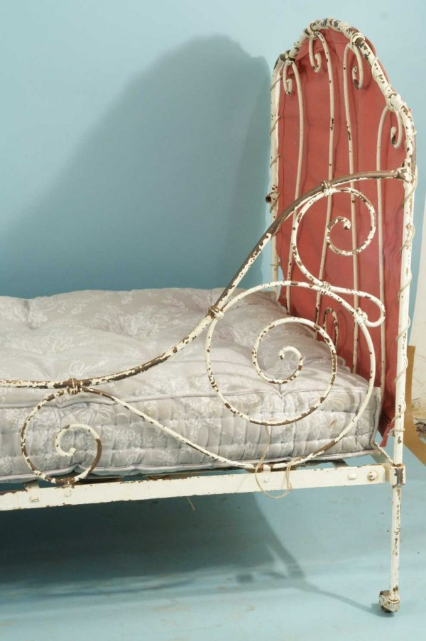 44: ANTIQUE FRENCH WROUGHT IRON CAMPAIGN DAY BED - 2