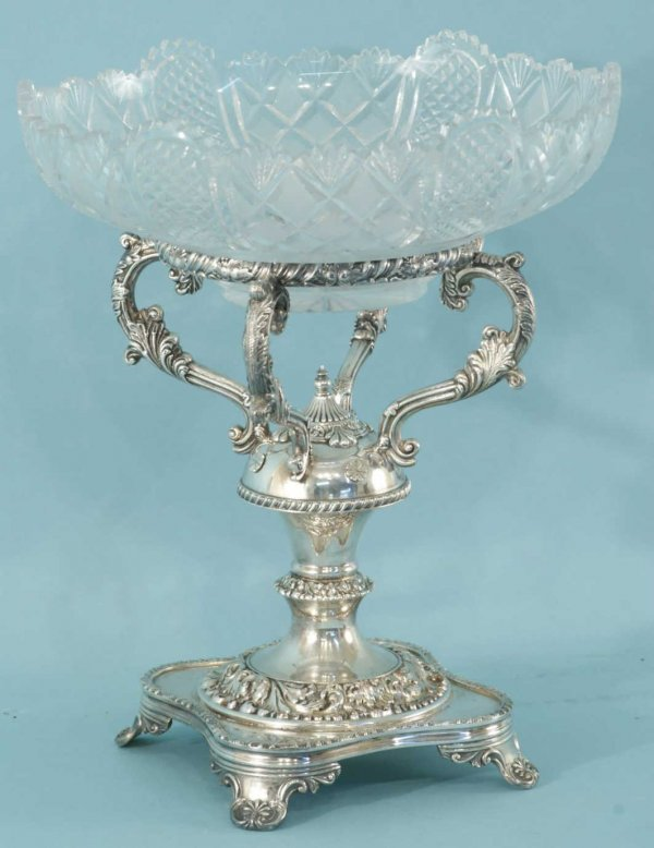 108: SILVERPLATE AND CUT GLASS EPERGNE BY SHEFFIELD
