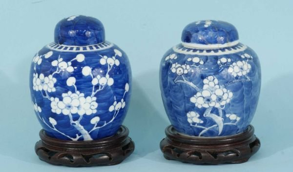 11A: ANTIQUE PAIR OF BLUE AND WHITE  CHINESE JARS