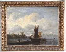 CIRCA 1800s GILT FRAMED HARBOR SCENE OIL PAINTING