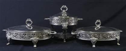 SET OF THREE SILVER PLATED FOOTED SERVING TRAYS