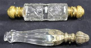 LOT OF TWO VICTORIAN CUT GLASS PERFUME BOTTLES