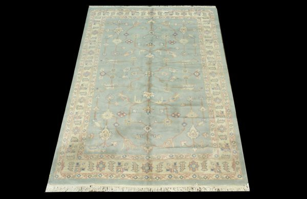 2: ART DECO STYLE CHINESE RUG IN MUTED BLUE AND IVORY