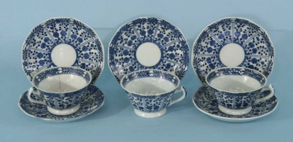 10B: THREE ANTIQUE COFFEE CUPS AND FIVE SAUCERS