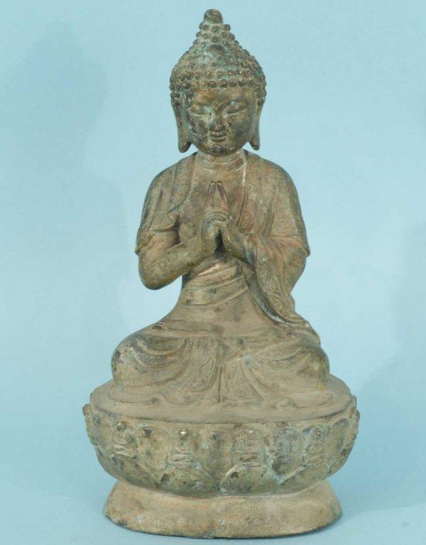 72: PATINATED METAL BUDDHA STATUE